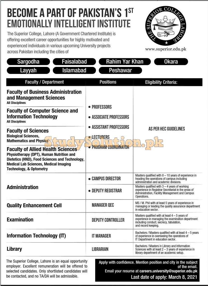 Superior College All Campuses Latest Jobs in Pakistan Advertisement 2021