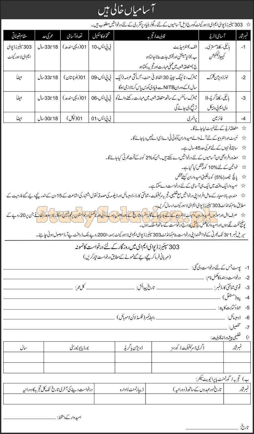 Pak Army 303 Spares Depot EME Latest Jobs March 2021