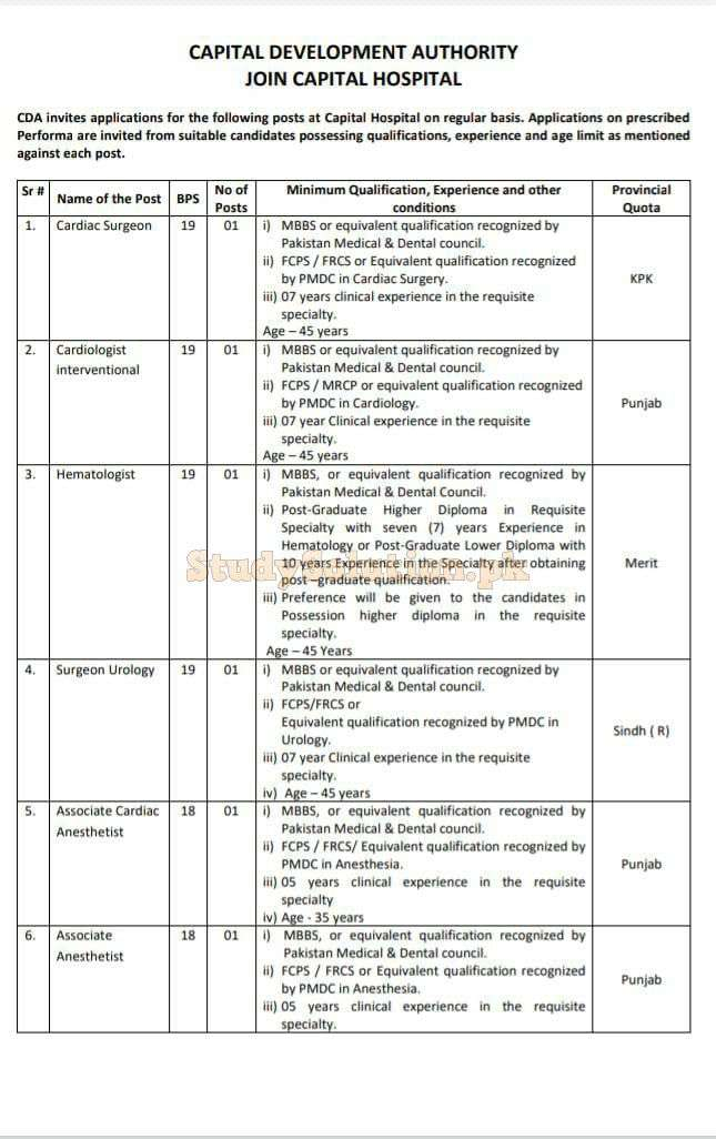 Capital Development Authority CDA  Latest Jobs 2021 in Islamabad