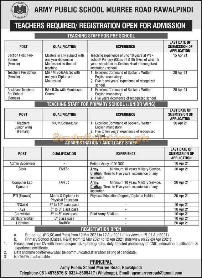 Army Public School APS Rawalpindi Latest Jobs April 2021