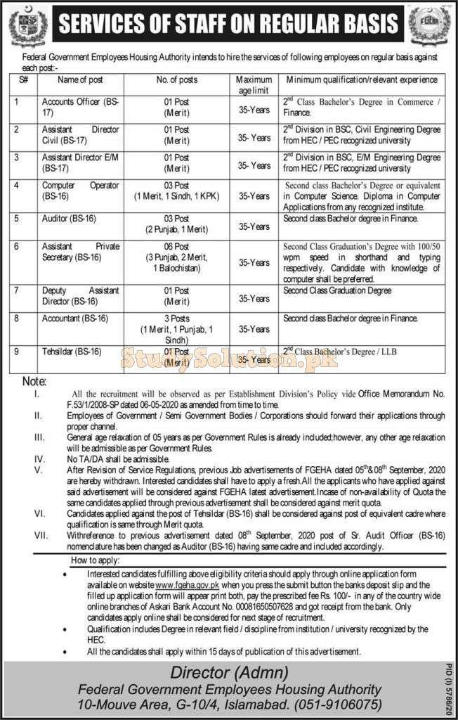 FGEHA Federal Government Employees Housing Authority Jobs April 2021