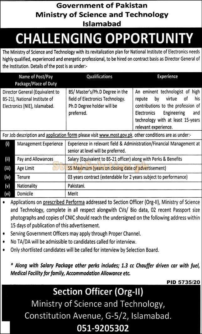 Ministry of Science and Technology Latest Jobs April 2021