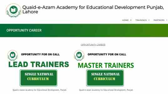 Punjab School Education Department Trainers QAED Jobs 2021