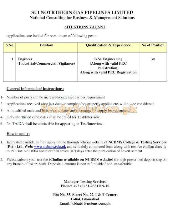 SNGPL Sui Northern Gas Pipelines Limited Latest Jobs 2021