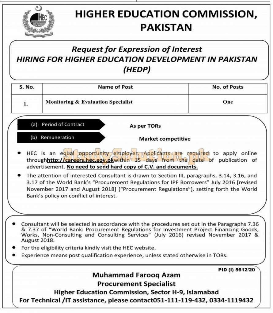 Higher Education Commission HEC Management Latest Jobs 2021