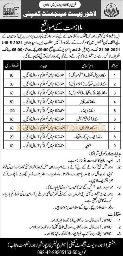Lahore Waste Management Company LWMC Latest Jobs May 2021