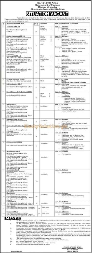 Ministry of Interior Latest Jobs May 2021 Advertisement