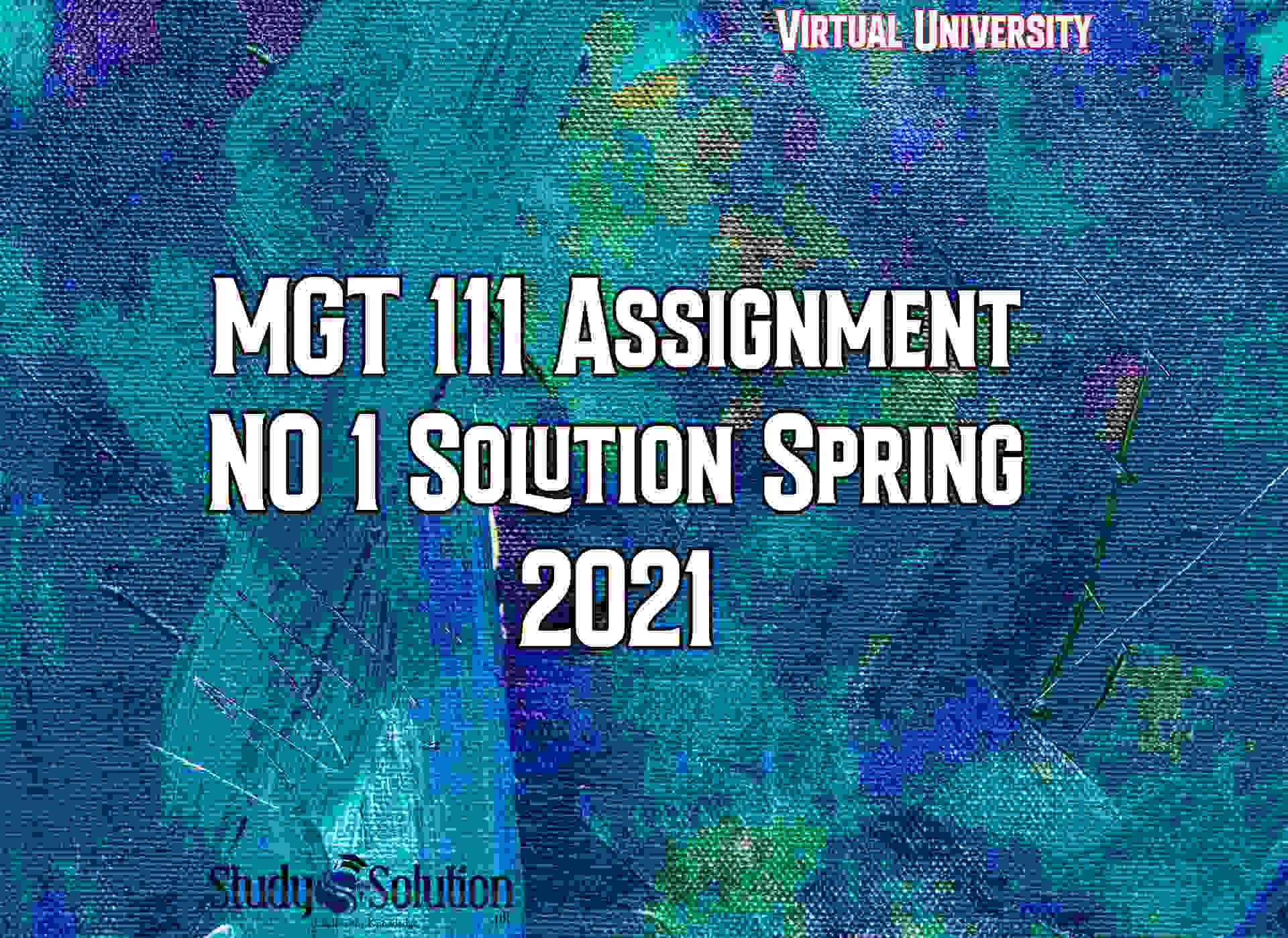 MGT 111 Assignment NO 1 Solution Spring 2021